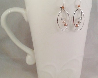 Silver Ellipse Earrings with Mixed Metal Beads