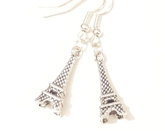 Romantic Eifel Tower silver 3D drop earrings.