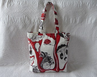 Handmade Tote Bag Reusable Eco Shopping Bag Cotton Print Fabric Red and Black Fairytale/Woodland Scenes