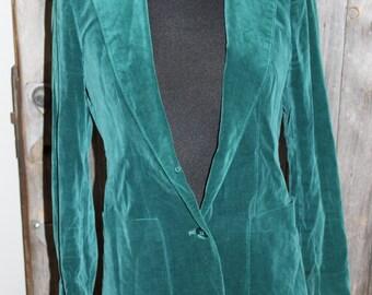 Vintage Green Velvet Blazer (Women's size small)