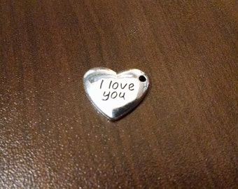 10pcs - 17mm x 15mm Silver Heart Charm - I Love You Heart - Pendant - Charm - Findings - Supplies