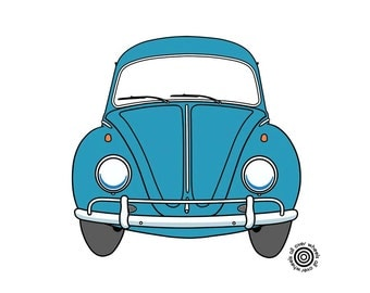 VW Beetle T-SHIRT vintage VW bug Tee Choice of car and shirt colors! Original art by Wheels All Over