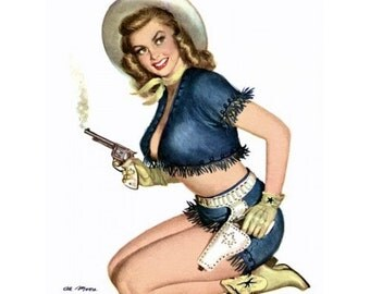 Cowgirl With a Smoking Gun - Blonde Pinup Girl Poster - Ranch Decor - Vintage Collectible Pin-up - 1950s - Pin Up Art - Rockabilly Style