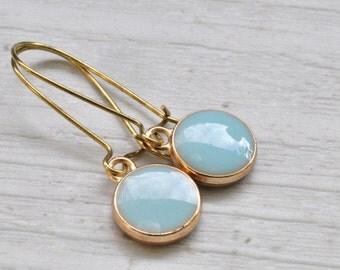 Earrings gold-plated pendant light blue