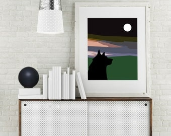 "Modern Wall Art, Mid Century Art Print, Abstract Print, Moon Art, Wolf Art, Wildlife Art, Dusk, kids Art, Colorful Art, ""Same Moon Wolf"""