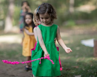 Green Toddler Dress, Birthday Outfit, Dress with Pockets, Girls Dress, Girl Dress Pockets, Party Dress, Linen Dress, Linen Dress Wedding
