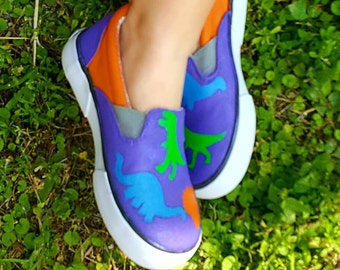 Toddler Dinosaur Shoes - Painted Dino Sneakers - Dino Trainers - Birthday Shoes - Girl Dinosaur - Boy Dinosaur - Hand painted Dinosaur