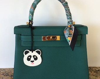 Leather Panda Bag Charm on Black Silk Cord