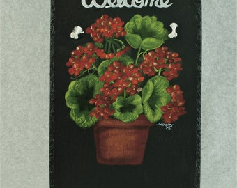 Painted Slate - Red Geraniums *Personalized No Charge*