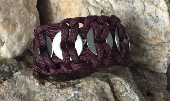Steel Paracord  Bracelet, with Stainless Steel Washers weaved into it, ,burgundy,with a stainless steel metal silver buckle