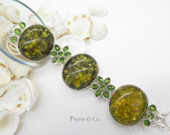 Baltic Amber and Peridot Sterling Silver Bracelet