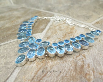 Double Layer Swiss Blue Topaz Sterling Silver Necklace