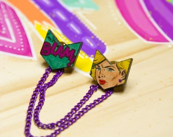 Hand Coloured Comic Collar Pins with Removable Chains