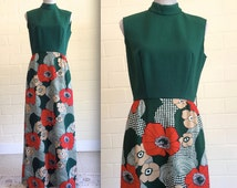 Vintage 60s mod maxi dress -  psychedelic bold floral print skirt - high neck - red flowers/poppies - sleeveless