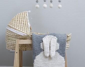 "Baby Blanket ""Bunny"" for Bassinet or Stroller, Baby Blanket Knit"