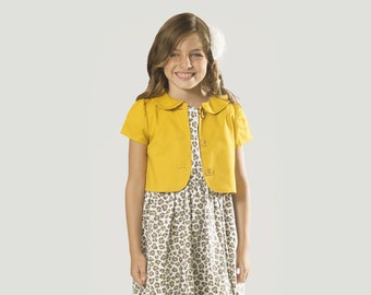 "Girls Jacket in Sizes 2 to 13 Years -- The ""Jo Jo"" Jacket in Ochre"