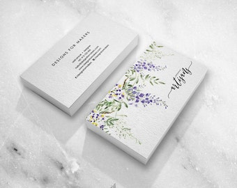 Watercolor Flowers   Premade Business Card Design   Floral Design   Purple  Flowers Green Leaves