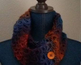 Handmade broomstick crocheted infinity scarf with buttons