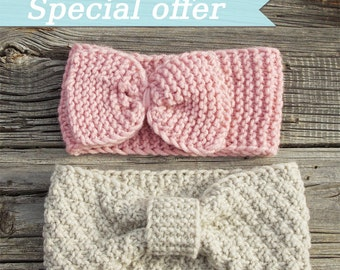 Knit turban headband, Knit bow headband, Ear Warmers, bow headband, turbin headband, knit ear warmer, knit bow headband, knit bow ear warmer