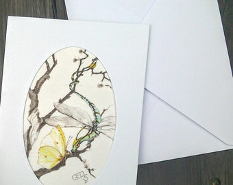 Dragon greetings card watercolour painting fantasy art, Spring Dragonfly