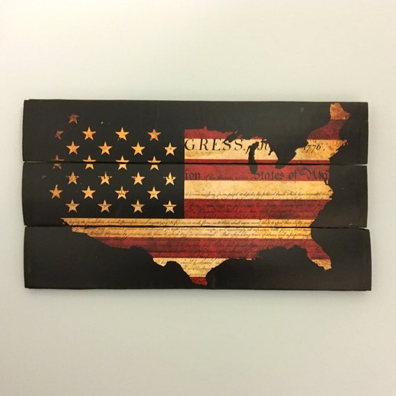 American Flag United States Map Wooden Wall Decor Wooden