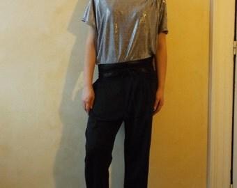 Silver unisex asymmetrical T-shirt