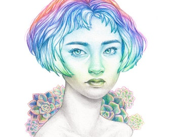 Succulent - Greeting Card - Rainbow Portrait with Plants and Crystals