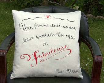 Coco Chanel quote cushion cover - An Oola-Boola cushion
