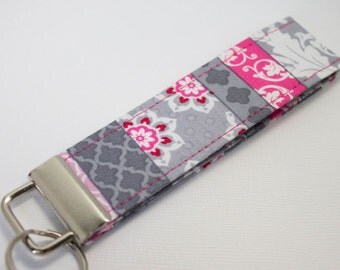 "Grey & Pink Floral Key Fob 5"" / Key chain / Wristlet / Key Ring"