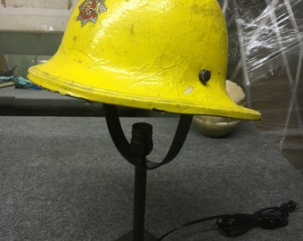Vintage Leicestershire Firefighter's Helmet Table Lamp
