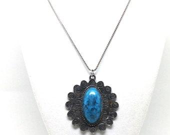 Heirloom Faux Turquoise Pendant Silver Tone Vintage Estate Necklace