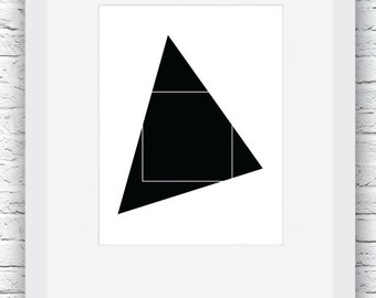 Geometric Print, Geometric Wall Art, Black and White, Geometric Art, Triangle Art Print, Wall Decor,Minimalist Print, Modern Wall Art