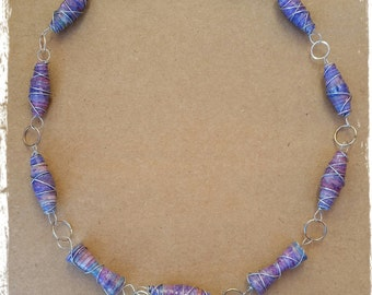one of a kind recycled paper bead necklace: purple tones