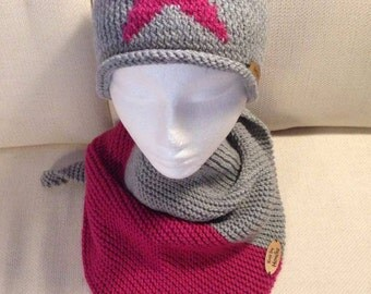 Star Beanie and matching scarf combo