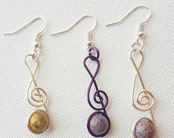 Treble clef earrings, jasper earrings, wire treble clef, music note earrings, gemstone wire earrings, treble clef jewelry, music lover gift