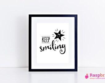 keep smiling, star, abstract, digital print, home decor, modern, scandinavian, wall art, inspirational quote, poster 8x10, bright, bold