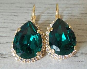 Emerald Green Dangle Earrings - Pear Shaped Earrings - Swarovski Earrings - Bridesmaid Earrings - Dangle Earring - Swarovski Emerald Earrin