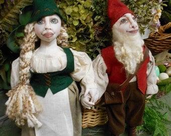 SALE -Gnome Couple - Cloth Doll Set