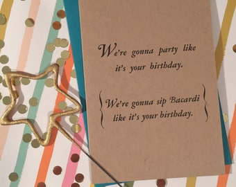 Party and Bacardi Birthday; Single Card