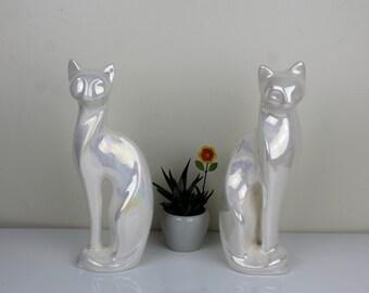 Vintage porcelain iridescent large cat figurines - set of 2 - pearly shine figurines - retro cat decor