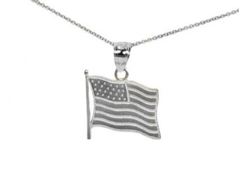 Sterling Silver American Flag Necklace