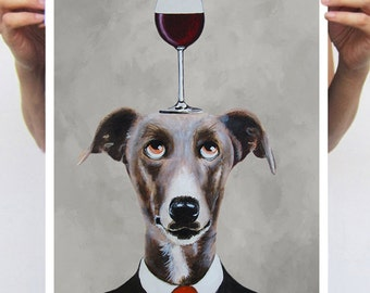 Greyhound print, print from original painting by Coco de Paris: Greyhound with wineglass