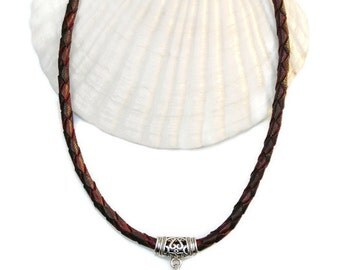 Leather necklace with alpaca pendant,Statement necklace