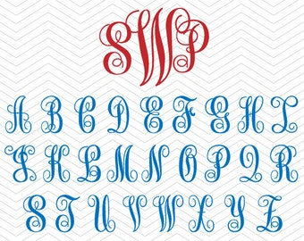Vine Curle Monogram Alphabet SVG, PNG, DXF, eps Script font Vinyl Decal Cut Files Cricut Design, Silhouette studio, Sure Cuts a Lot