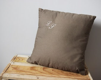 Cushion cover taupe personalized with initial