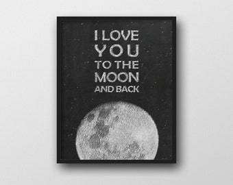 i love you to the moon and back wall art by. Black Bedroom Furniture Sets. Home Design Ideas