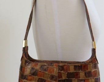 Superb Vintage Stuart Weitzman Leather Mock Croc Handbag