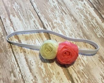 "1"" Double Rosette on skinny headband, newborn headband"