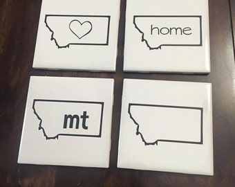 Ceramic Tile State Coasters - Set of 4