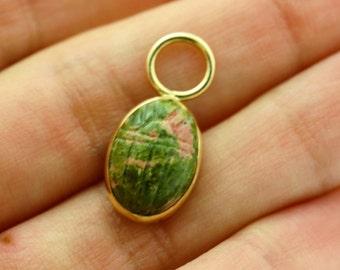 Green Jasper Pendant - Green Stone Pendant 14k  Gold -Energy Pendant